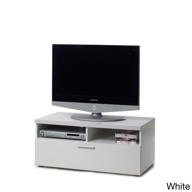 Give your living room a bright, contemporary feel with this clean and convenient Hayward TV stand. Crafted with sustainable wood, this modern TV unit is finished in wood grain black or white and features plentiful storage space in a single wide drawer.