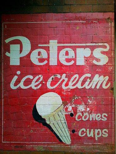 Classic painted Peters ice cream poster, Sydney, New South Wales