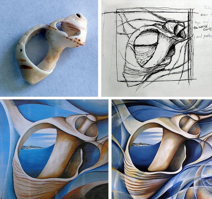 painting of shells by Amiria Robinson (Gale).   Apart/ Develop/ Form/ Shape/ Natural/ Sea/