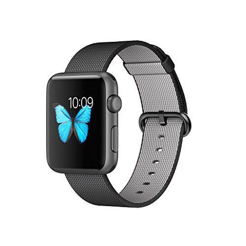 Apple Watch Sport Montre connectée – Boitier aluminium Gris sidéral 42mm – Bracelet en Nylon tissé Noir (version Européenne): Processeur…