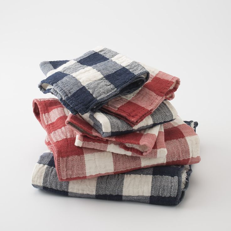 Vintage Check Towels - Navy | New