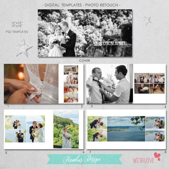 12x12 10x10 Psd 40 Pages Wedding Album Template 20 Etsy Wedding Album Wedding Album Templates Wedding Photo Albums