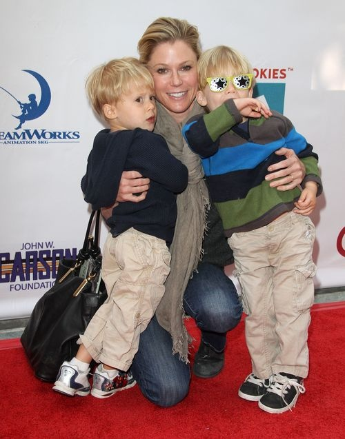 Modern Family star Julie Bowen and her two year old twins at the Milk + Bookies event on April 15 2012, at the Skirball Cultural Center in Los Angeles.