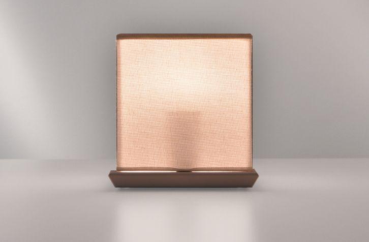 Light house, produzione numerata, una lampada da tavolo in tessuto di lino fatto a mano, con base in metallo verniciato bianco.
