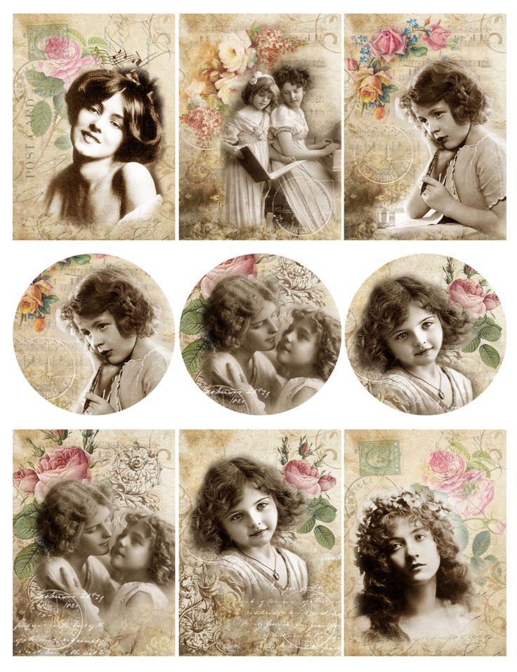 "Collages - vintage - art journal inspiration - рисовая бумага ""милашки"""