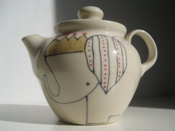 Handmade Ceramic Teapot - Elephant with Crown Teapot- ON HOLD for Jake via Etsy