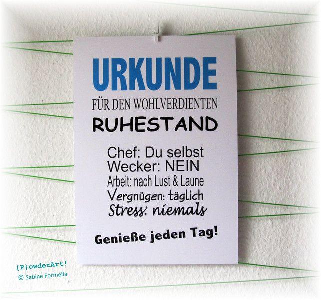 Wanddeko Bild Urkunde Wohlverdienter Ruhestand No 2 Blau Ein Designerstuck Von Powderart Bei Dawanda Ruhestand Spruche Zum Ruhestand Wunsche Zum Ruhestand