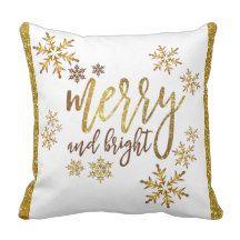 """Christmas Throw Pillow - Gold & White - 16"""" x 16"""""""