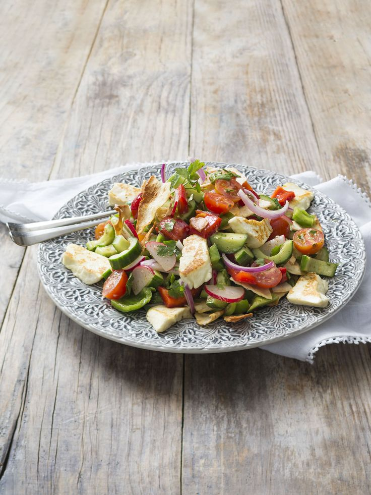 Fattoush salad with grilled haloumi | Thermomix | Vegetarian Kitchen cookbook and recipe chip | p. 68 |