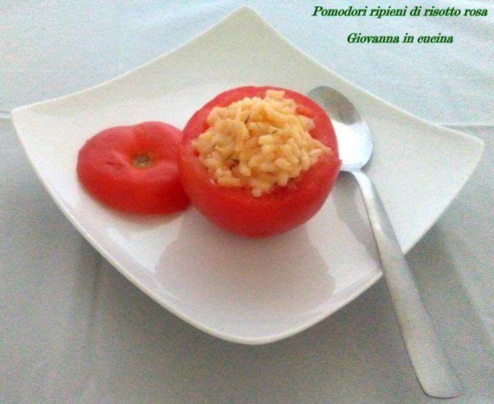 Pomodori ripieni di risotto rosa, senza sale, govanna in cucina
