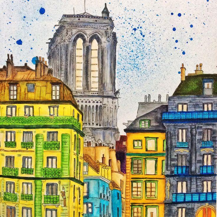 A Page From Secret Paris By Zoe De Las Cases Colored With Mix Of