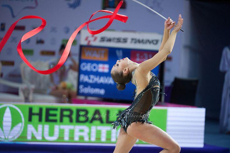 RITA MAMUN of Russia performs with ribbon at 2016 European Championships at…