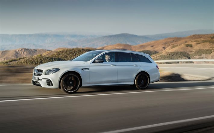 Herunterladen hintergrundbild mercedes-amg e63 s, 2018, e-klasse, kombi, weiß e63, deutsche autos, tuning e63, mercedes