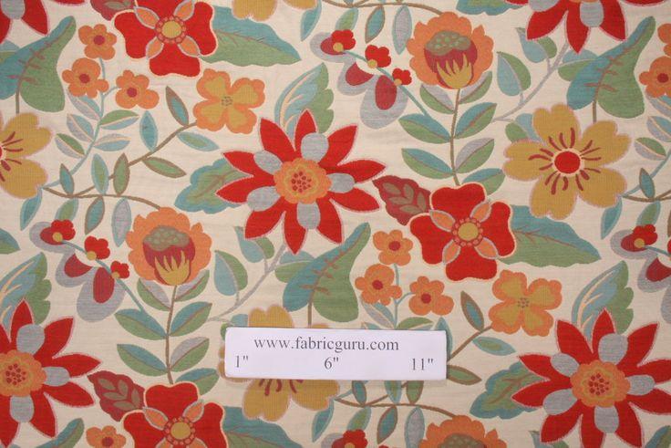 Upholstery Fabric :: All Upholstery Fabric :: Robert Allen Garden Toss Tapestry Upholstery Fabric in Poppy $19.95 per yard -