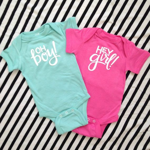 OH boy and HEY girl onesies - gender reveal - twins