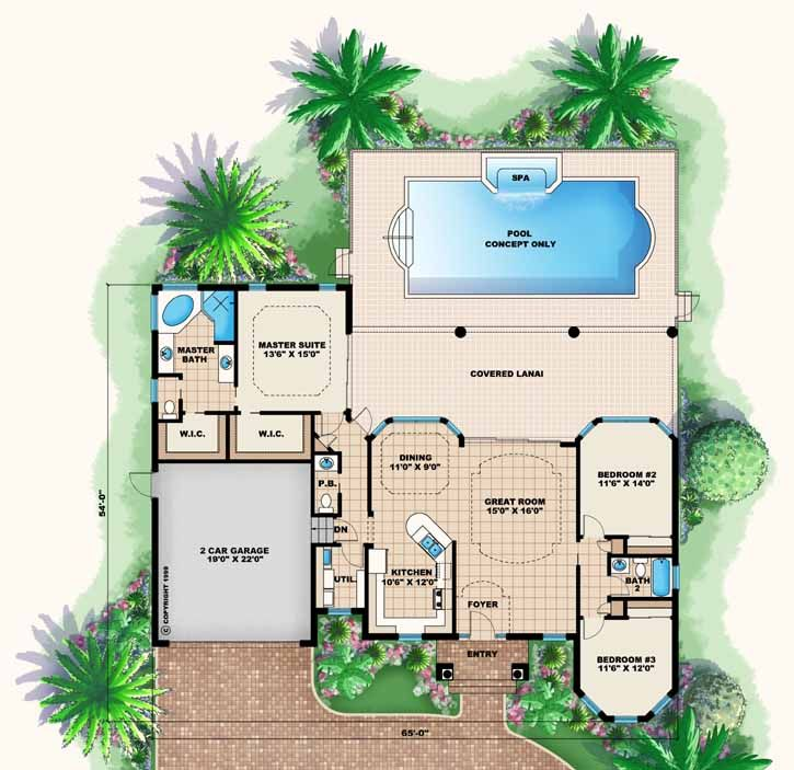 Florida Style House Plans   1786 Square Foot Home , 1 Story, 3 Bedroom And