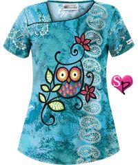 Style # UA663WHT: UA Who's Watching Turquoise Print Scrub Top