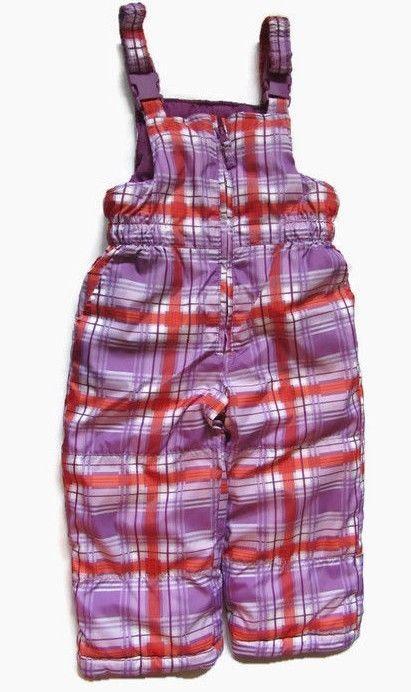 7c69cb604 London Fog Girls 2T Bib Snowsuit Zipper Front Purple Plaid ...