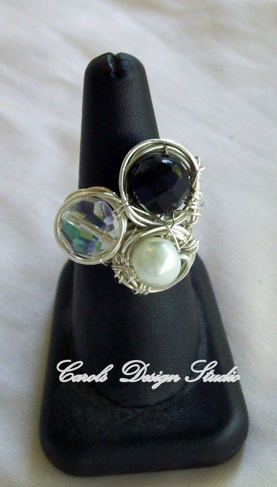 Solid Sterling Silver Wire wrapped around Clear Crystal Black Crystal and White Crystal Pearl Statement Ring