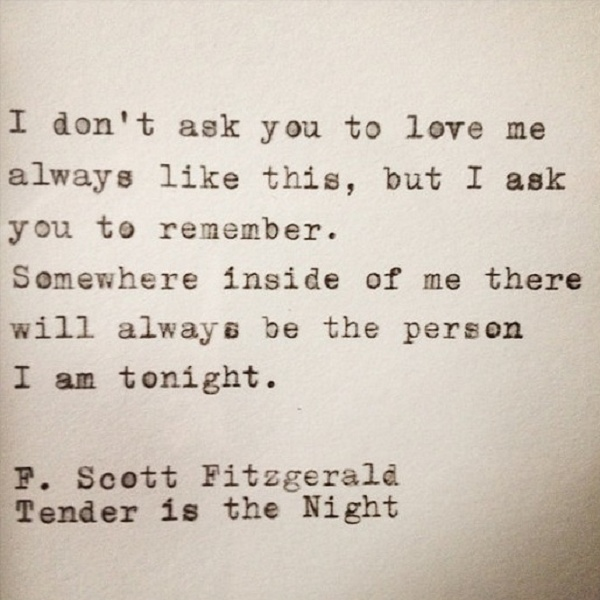 F. Scott Fitzgerald Tender is the Night Quote Typed on Typewriter and