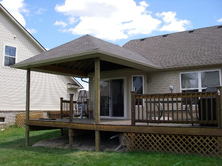 Build aroof over a deck decks deck roof pinterest for Existing house plans
