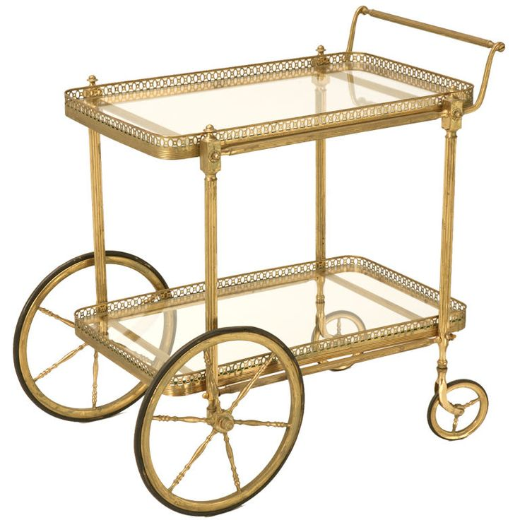 Vintage French Brass Tea or Bar Cart | From a unique collection of antique and modern bar carts at http://www.1stdibs.com/furniture/tables/bar-carts/