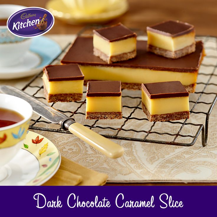 You might as well make a double batch of this amazing #slice. It won't stick around for long! #caramel #chocolate To view the #CADBURY product featured in this recipe visit http://www.cadburykitchen.com.au/products/view/bournville-cocoa/
