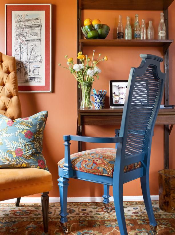 22 Creative Ways to Paint with Pantone's Favorite Fall Colors: Color Combos, Color Blue, Wall Color, Dining Chairs, Blue Chairs, Paintings Color, Old Chairs, Home Offices, Fall Color