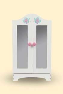 Store all the Butterflies™ accessories in this beautiful armoire set! Includes a place to hang your favorite doll outfits and a draw for all the little accessories. 18'' tall, 7'' deep and 11 1/2'' wide.