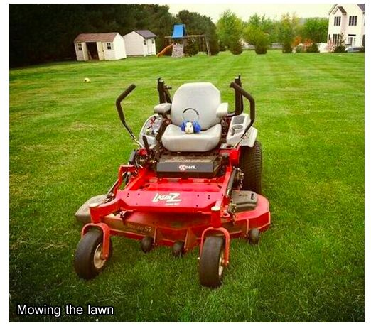 """He rides stuff too, like this mower. 
