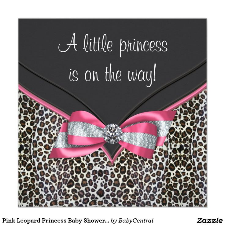 Pink Leopard Princess Baby Shower Invitations 118
