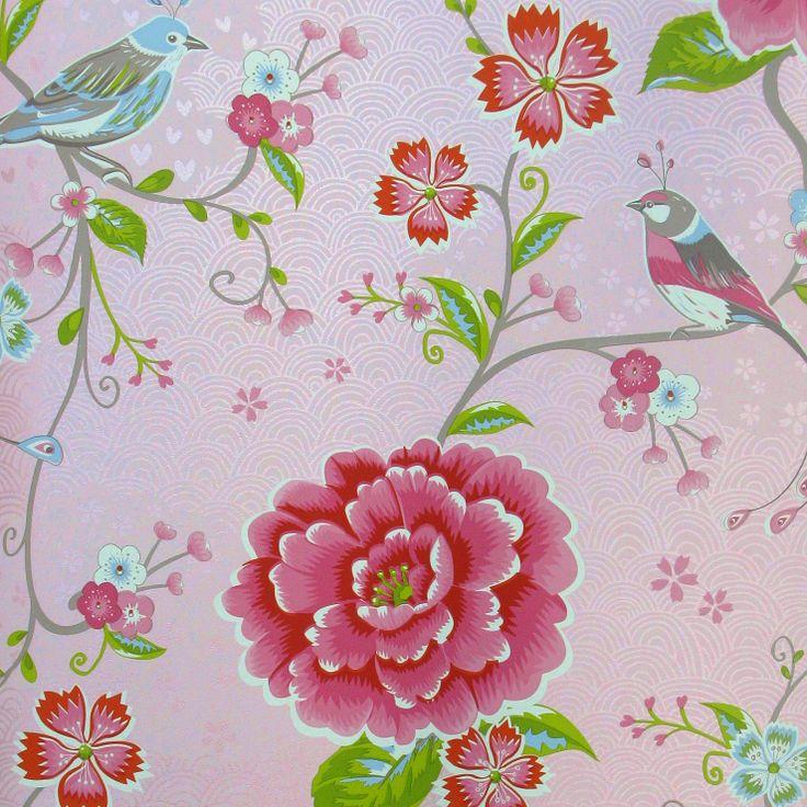 Pip Studio Behang Birds in Paradise roze behangnr. 313010