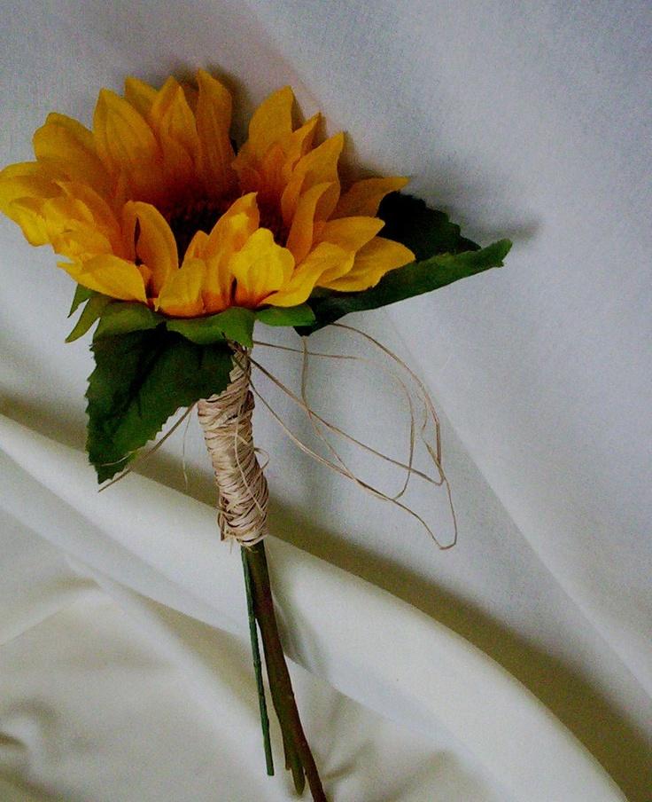 Set of 3 boutonnieres Sunflower wedding by BudgetWeddingBouquet