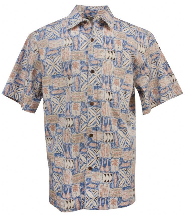 Island Life Tapa Tropical Reversed Hawaiian Shirt in Slate, Mens Hawaiian Shirts Clothing, TP-505C-WAA-Slate - Paradise Clothing Company