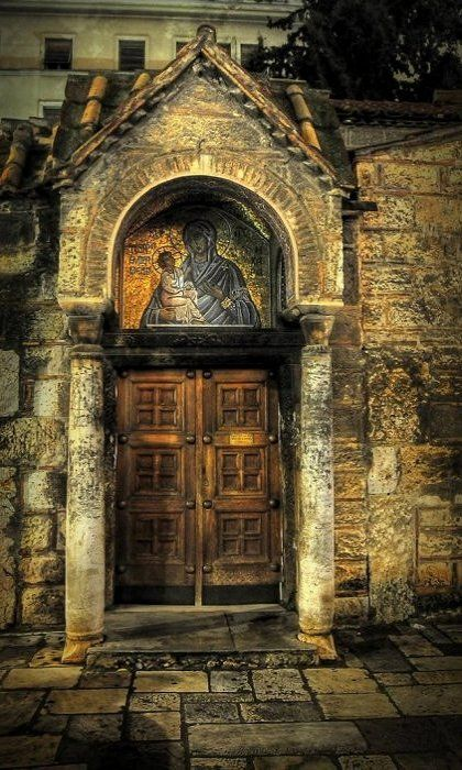 Kapnikarea Church, Athens, Greece - an ideal entrance to the Lady's church. Read more about Greece in THE LADY OF SORROWS by Anne Zouroudi