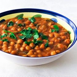 Garbanzo beans curry. So delicious! Didn't have cumin, garam masala or white dal, so did without, ad-libbed a bit and made a fantastic dish.