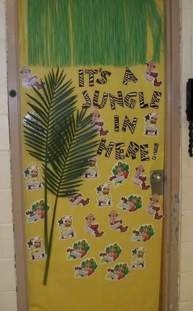"Jungle theme classroom door.  ""It's a Jungle in Here!"""