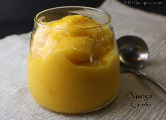 Mango Puree  2 whole mangoes, about 1 1/2 cups) 1/4 cup to 1/2 cup confectioner's sugar — or more to taste 1 bs fresh lime or lemon juice About 2-3 T water