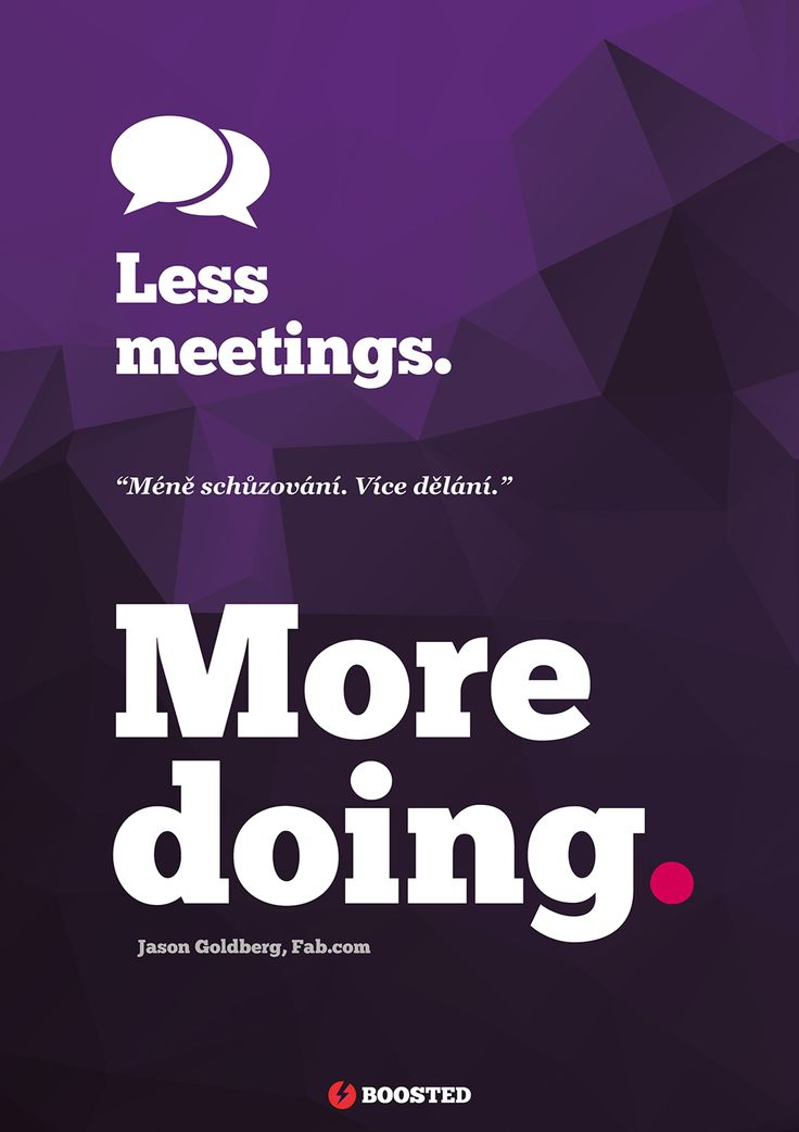 Motivační plakát Méně schůzování (Anglicky/Česky)
