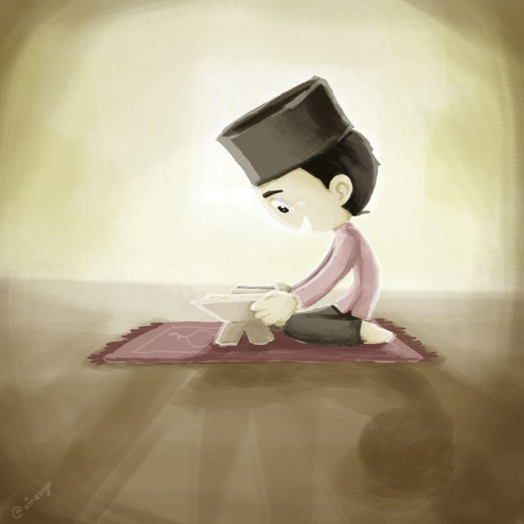 #boy#read#quran#pray#happy#islam#moslem#illustration#ninekyu