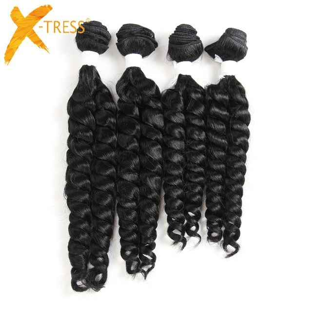 X-TRESS Funmi Curly Synthetic Hair Weave 4 Bundles…