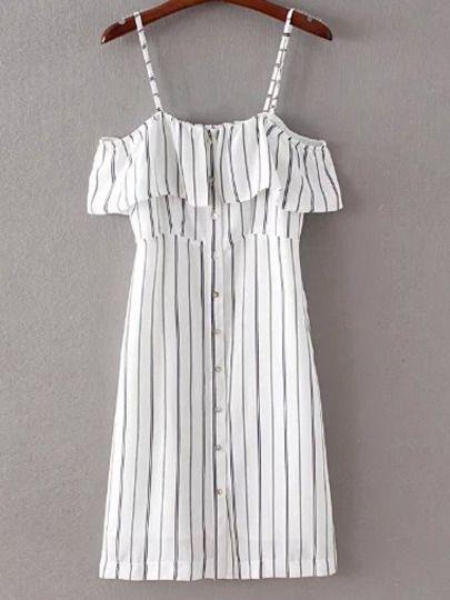 23€ Vestido rayas botones tirante -negro blanco
