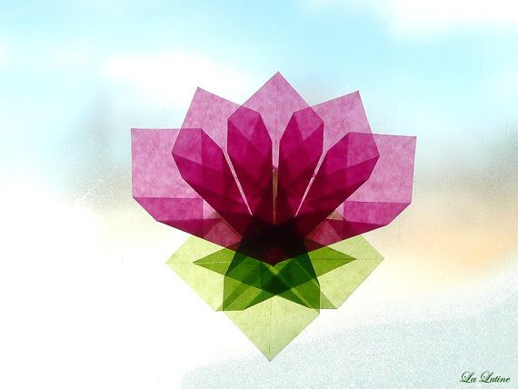 Lotus Flower Window Kite Paper Transparency - Suncatcher Window Star Decoration - Waldorf Inspired