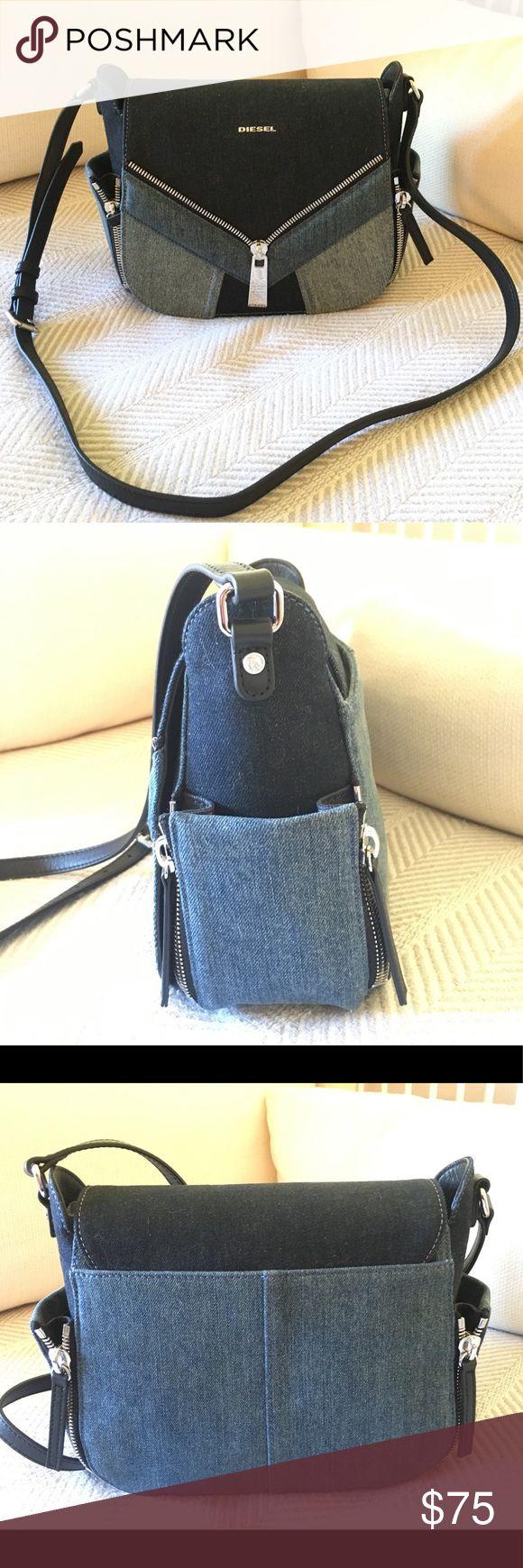 DIESEL CROSSBODY BAG DENIM DIESEL CROSSBODY BAG Light wash denim/dark wash denim Silver hardware Literally brand new/never used Still has plastic on inside Two side pockets   #diesel #denimbag #bag #crossbodybag #crossbody #bluebag #bluepurse #purse #silverbag #coachella Diesel Bags Crossbody Bags