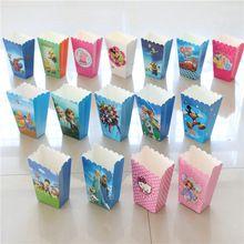 6 unids Cartoon Avenger/Minnie/Minions/Sofia Tema Cajas de Palomitas de maíz de Alimentos Dulces/Bolsas Película Para Niños de Cumpleaños Fuentes Del Partido decoraciones(China (Mainland))
