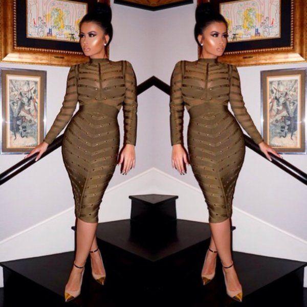 Studded olive green bandage dress | Nalu Boutique