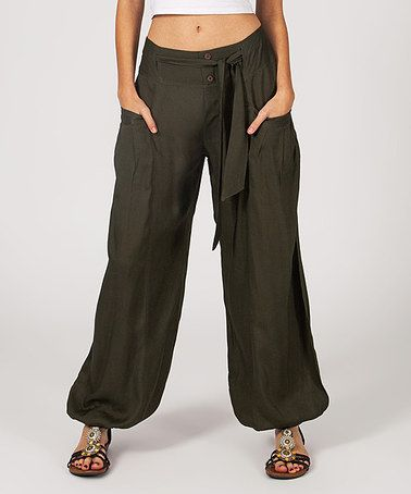 Another great find on #zulily! Brown Tie-Front Pocket Harem Pants #zulilyfinds