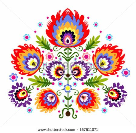 Folk Embroidery - Flowers. Polish traditional folk pattern. by Bridzia, via ShutterStock