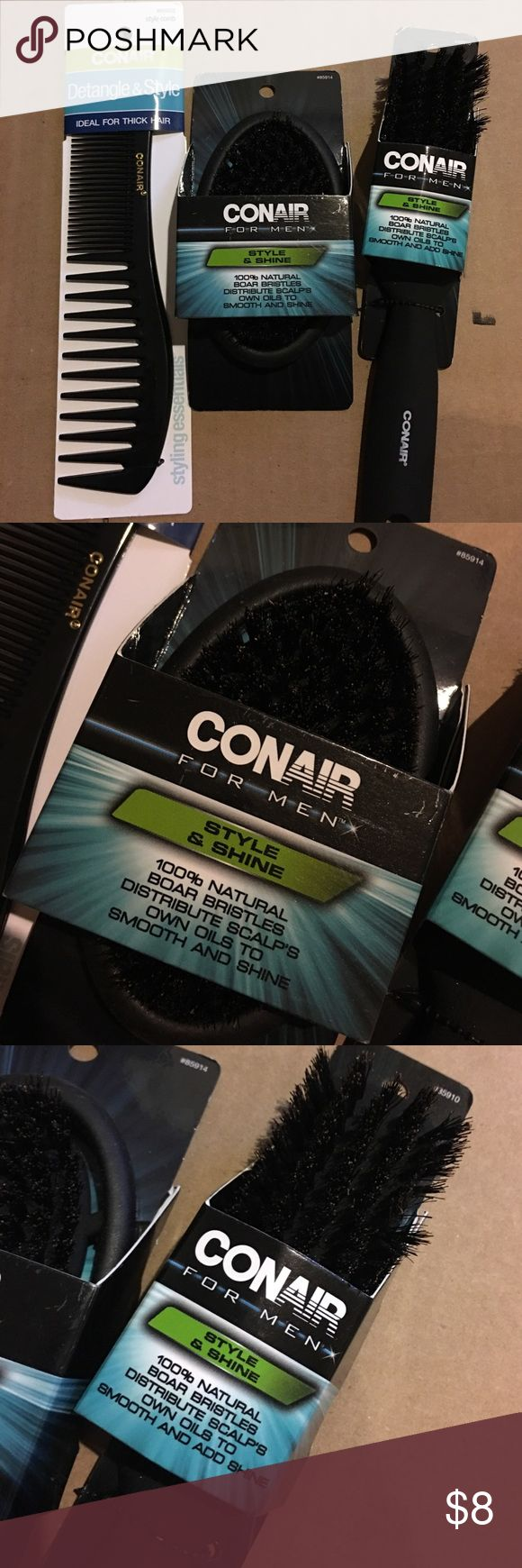 Conair men's hair brush bundle Thick hair comb, 2 100% natural boar bristles brushes.. all brand new never used.. retail 16$.. Accessories Hair Accessories