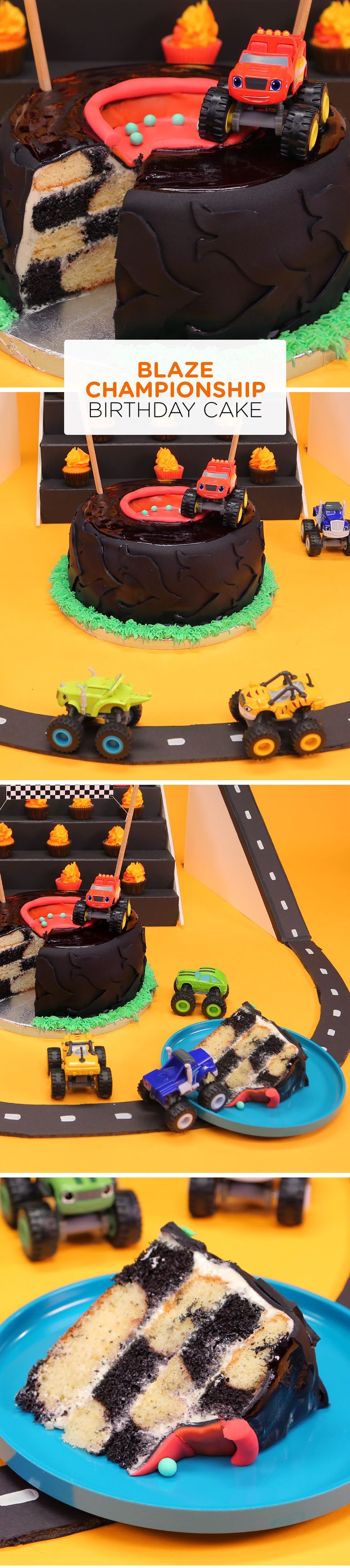 This Blaze and the Monster Machines birthday cake is shape like a tire and has racing flag checkers inside. It's the perfect cake for your child's next Blaze-themed birthday party.
